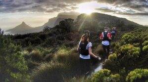Trail running hiking Table mountain