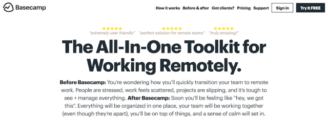 basecamp remote working tool