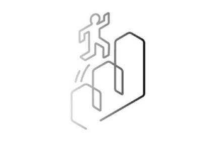 Illustration Person springt Treppen hoch