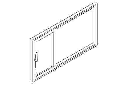 Schiebetür Öffnung asymmetrisch links