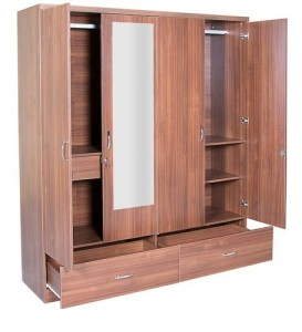 4 Door Wardrobe in Naina Teak Finish at Rs 19500  number   TVK     4 Door Wardrobe in Naina Teak Finish