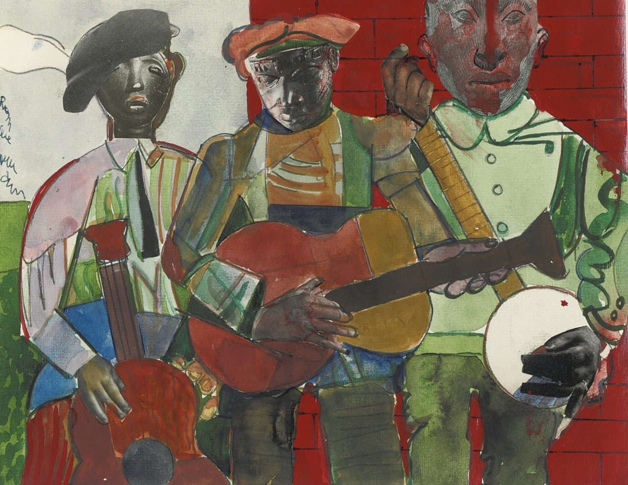 thunderstruck9:  Romare Bearden (American, 1911-1988), Country Musicians, c.1972. Gouache, ink and paper collage on paper, 21.6 x 27.3 cm.