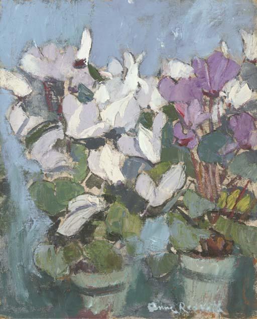 thunderstruck9:  Anne Redpath (Scottish, 1895-1965), Purple cyclamen. Oil on board, 21 x 17 in.
