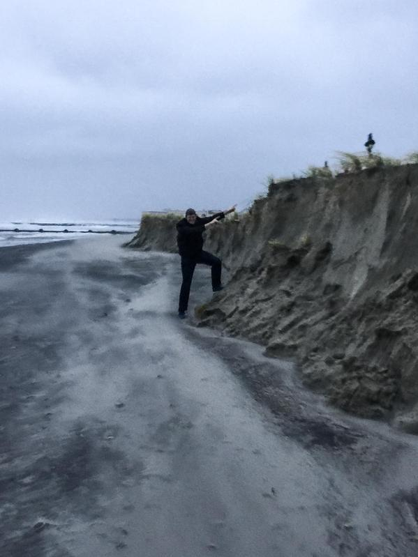 Matt Moore, (  @WGALMattMoore ) a weather forecaster for WGAL in Harrisburg, posted this image Sunday October 3 2015 of the erosion that is taking place along some New Jersey beaches..This looks more like the cliffs of Maine than the quaint sandy getaways of the Garden State..