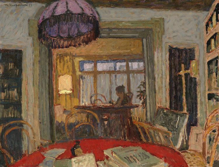 huariqueje:  Interior at  Koninginneweg by twilight -   Theo Kurpershoek 1979 Dutch  1914-1998  Oil on canvas,    62 x 80cm,