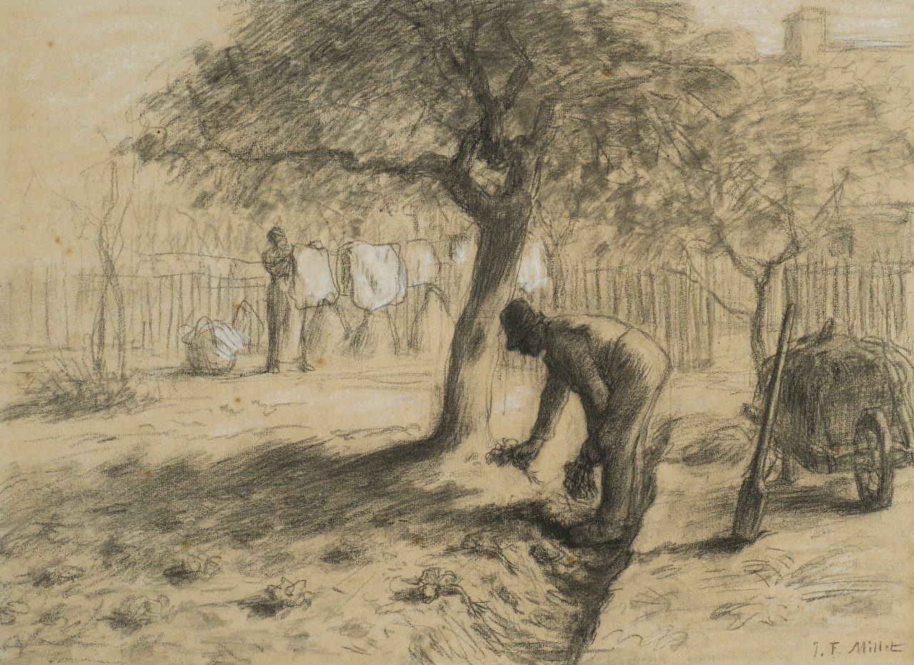 thunderstruck9: Jean-François Millet (French, 1814-1875), Le Jardinage [Gardening]. Crayon noir and white chalk on paper, 33.7 x 46.5 cm.