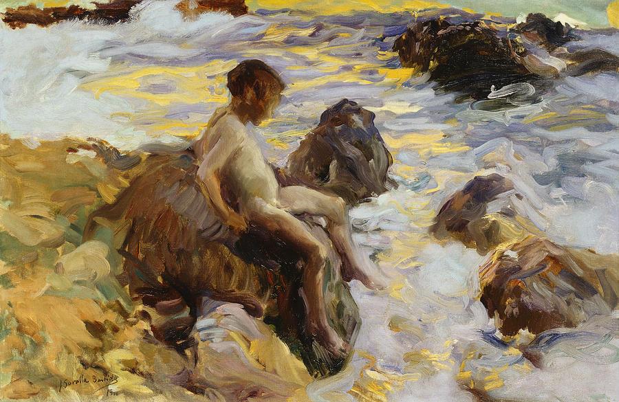 poboh:Boy in the Breakers, Javea, 1900, Joaquín Sorolla y Bastida. Spanish (1863 - 1923) - Oil on Canvas -