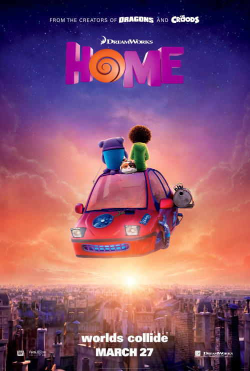 Home Reviewed by Miranda BoyerBy the end of the movie Home,<br /><br /><br /> created by the masterminds at DreamWorks Animation, I felt warm and fuzzy. Home is about the most colorful and benign<br /><br /><br /> alien invasion ever and what friendship and family really mean. The invaders of Earth are the Boov,<br /><br /><br /> whose color changes from their natural shade of purple depending on their current<br /><br /><br /> emotional state. They generally shy away from any and all confrontation and the<br /><br /><br /> rule of thumb is to run away from danger. Meet Oh. His vocals are played by the<br /><br /><br /> hysterical Jim Parsons from television's The<br /><br /><br /> Big Bang Theory. Oh is a multi-legged Boov who encounters on his journey<br /><br /><br /> the human girl Tip, voiced by Rihanna. Tip is searching for her mother<br /><br /><br /> (Jennifer Lopez, The Boy Next Door), who was taken by the Boov. Most of the humans were relocated<br /><br /><br /> to Australia while the Boov invaded the rest of the planet. Oh has a mission of<br /><br /><br /> his own, to stop an Evite to his house warming party from being sent out to the<br /><br /><br /> Boov's enemies; but he agrees to help Tip in her search for her mother.  We get to watch a beautiful friendship<br /><br /><br /> blossom.  There are some big themes in this<br /><br /><br /> movie; the number one is about not judging something or assuming anything about<br /><br /><br /> someone or something unfamiliar to you until you understand it better. The Boov<br /><br /><br /> believe that humans are a lower-functioning species and that they are in fact<br /><br /><br /> doing the human race a favor by invading. Captain Smek (Steve Martin), of the<br /><br /><br /> Boov, has convinced them all that they can bring new technology and in fact<br /><br /><br /> save humans from themselves. Home might<br /><br /><br /> have an underlining theme about immigrants and stereotypes, as neither race<br /><br /><br /> turn out to be as the other imagines. It is most certainly open to<br /><br /><br /> interpretation. I have no doubt that that when watched, Home will be seen as a fun adventure where friendship and family<br /><br /><br /> win out above all other things. Home<br /><br /><br /> is based on The True<br /><br /><br /> Meaning of Smekday, a middle grade book by Adam Rex. Based on my viewing, I<br /><br /><br /> would assume that the soundtrack, with songs by Lopez and Rihanna, is just as<br /><br /><br /> fun.<br /><br /><br /> I enjoyed tis family friendly film and I have no doubt my niece and nephews<br /><br /><br /> will love as well. Did you see Home,<br /><br /><br /> let me know your thoughts.