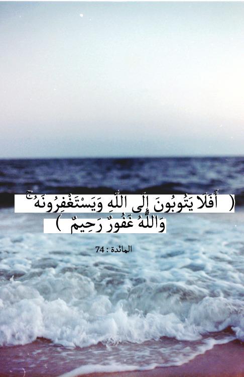 islamic-art-and-quotes: Will they not turn to God… أَفَلَا يَتُوبُونَ إِلَى اللَّهِ وَيَسْتَغْفِرُونَهُ وَاللَّهُ غَفُورٌ رَحِيمٌ Will they not turn to God and pray to Him for forgiveness? God is All-forgiving, All-compassionate. (Quran 5:74) Originally found on: ifa6omyy