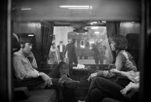 aconversationoncool:</p><br /><br /><br /><br /><br /> <p>Paul McCartney and Mick Jagger traveling to Bangor, 1967.<br /><br /><br /><br /><br /><br />