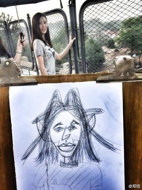 Zheng Kai tries drawing Liu Shishi