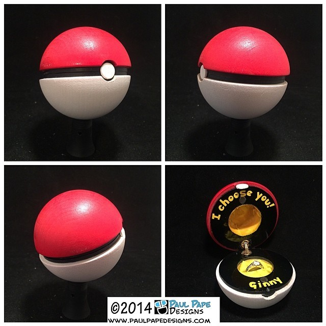 #Pokemon #pokeball #custom #engagement #ringbox with hidden hinge by #paulpapedesigns
