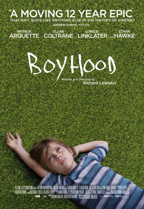 Boyhood</p><br /><br /> <p>Boyhood is the type of film you would wait more then twelve years for. Richard Linklater's film is a once in a generational look at what it's like to grow up. Filmed over the course of 12 years (Taking place between 2002-2013) using the same cast, this is a story of simply growing up from the eyes of a young child named Mason (Played by Ellar Coltrane). The cast includes Patricia Arquette and Ethan Hawke as Mason's parents and Lorelei Linklater as his sister Samantha.</p><br /><br /> <p>When I first heard about Boyhood I was instantly reminded of my all time favorite movies Before Sunrise, Before Sunset, and Before Midnight (also staring Ethan Hawke). Each movie was filmed using the same cast and each was also roughly filmed nine years apart respectively. They are about human connection in a way that I had never seen before and up until tonight since.</p><br /><br /> <p>Boyhood is more then just a nostalgic time capsule; it is a truly intimate look at what it is like to live. Observed via a string of life's milestones we see the growth and humanism in every character. Watching Arquette on the ground crying ripped at my heart. Listening to Hawke awkwardly give the sex talk to his daughter in a bowling ally was both endearing and relatable. I remember when my dad and I had a very similar talk in the parking lot of a horse ranch. The thing about this film is that more then feeling like you get to experience a very intimate portrait of a family, it reminds you of your own life. Watching the Mason and Samantha at a Harry Potter book release brought back memories of the Barns and Nobel party I went to once upon a time with my younger sisters.</p><br /><br /> <p>This film is like nothing ever made before, and is truly one of a kind. I didn't realize that there was a near three-hour runtime before pressing play and I didn't notice tell well after it ended.  As time passes, the film grows further and it gradually captivates the audience. It is clear that this cast also grows with film in so many ways. Boyhood is art pure and simple. I would be hard pressed to pick a better film for best movie of the year and quite possible of many years to come.