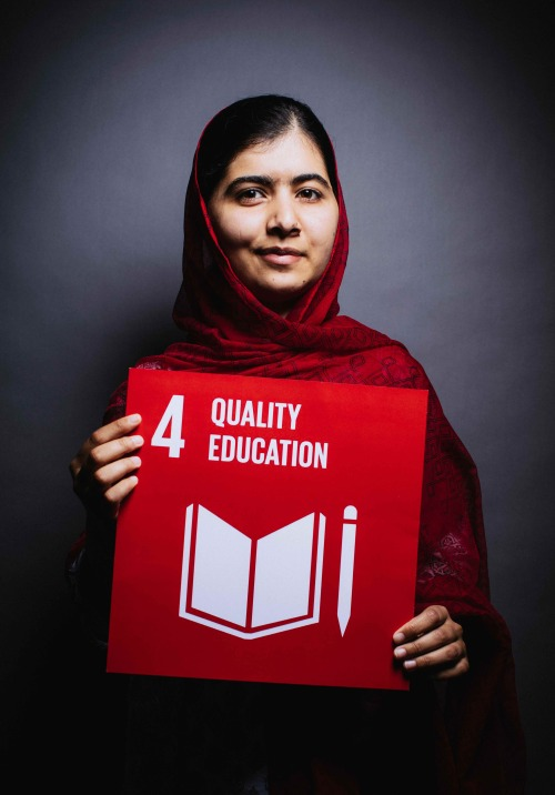 "(via Goal 4: Quality Education | The Global Goals) ""In some parts of the world, students are going to school every day. It's their normal life. But in other parts of the world, we are starving for education…it's like a precious gift. It's like a diamond…"" - Malala YousafzaiOn September 25th, 193 world leaders will commit to 17 Global Goals to achieve three extraordinary things in the next 15 years. End extreme poverty. Fight inequality & injustice. Fix climate change. The Global Goals for sustainable development could get these things done. In all countries. For all people.If the goals are going to work, everyone needs to know about them. You can't fight for your rights if you don't know what they are. You can't convince world leaders to do what needs to be done if you don't know what you're convincing them to do. If the goals are famous, they won't be forgotten.We can be the first generation to end extreme poverty, the most determined generation in history to end injustice and inequality, and the last generation to be threatened by climate change.Of all the goals that will help us achieve these three things, one is the most important. #Goal4 — Quality Education. We're pretty serious about making 12 years of education for all children a reality. And now you can help, too.Malala shared a selfie with the number 4 to tell the world that she's supporting The Global Goals and that #Goal4 — Quality Education — is her goal.So, it's your turn to do the same. We want you to tell everyone that #Goal4 is the goal you care most about because you know that education for every child is the key to solving some of the world's biggest problems. Join Malala's fight for 12 years of free, quality secondary education for every boy and girl. Share a selfie with the #4 — just like this — and let the world know that you support #Goal4."