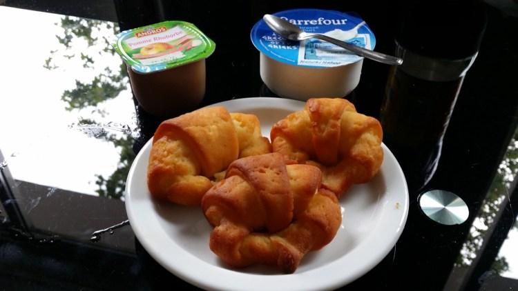 My breakfast in Cannes: gluten free croissants, yoghurt and apple purée