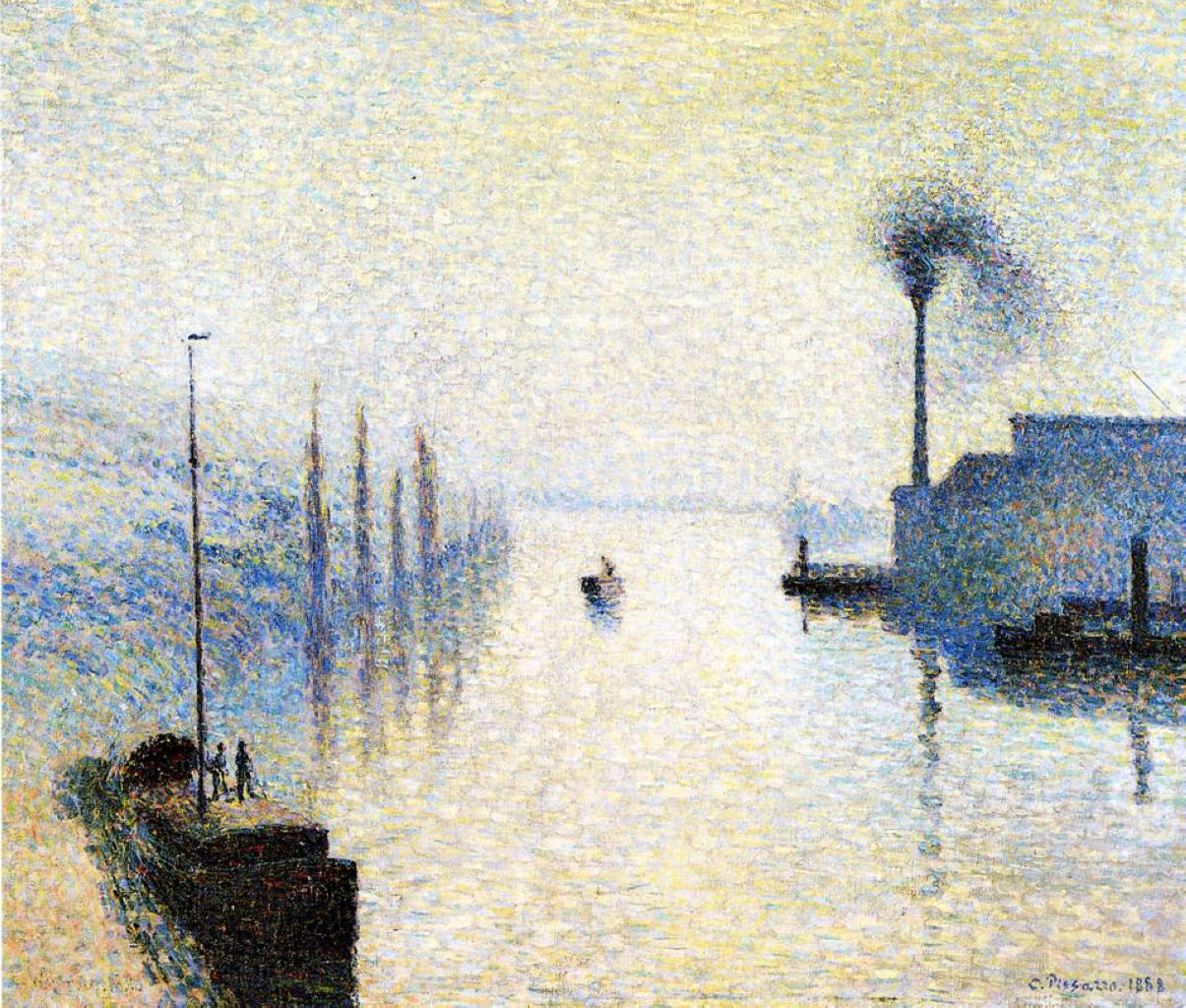 pearlsandcurlsandgin:  Ile Lacruix, Rouen. Effect of Fog (1885)Camille Pissarro