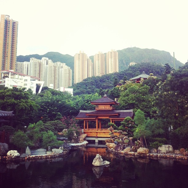 Beautiful nan lian gardens, a paradise inside a cityscape inside rolling mountains, at chi lin nunnery in Diamond Hill, Kowloon, #hk