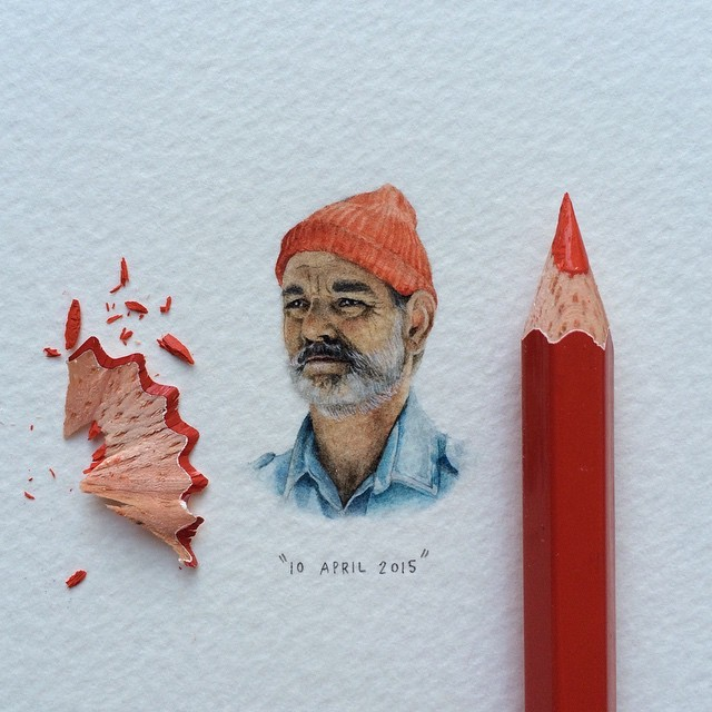 "Step 4 | Day 23/100 (6/25 #freefridays) : Bill Murray as Steve Zissou in Wes Anderson's ""The Life Aquatic"". 29 x 20 mm. ⚓️ SOLD. #potluck100pfa #freefridays #miniature #watercolour #paintingsforants #billmurray #stevezissou #thelifeaquatic #wesanderson #portraitsforants  (at Buchanan Square, Woodstock)"