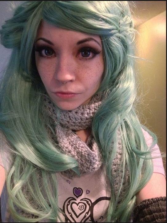 LunaFey rocking platinum and green hair