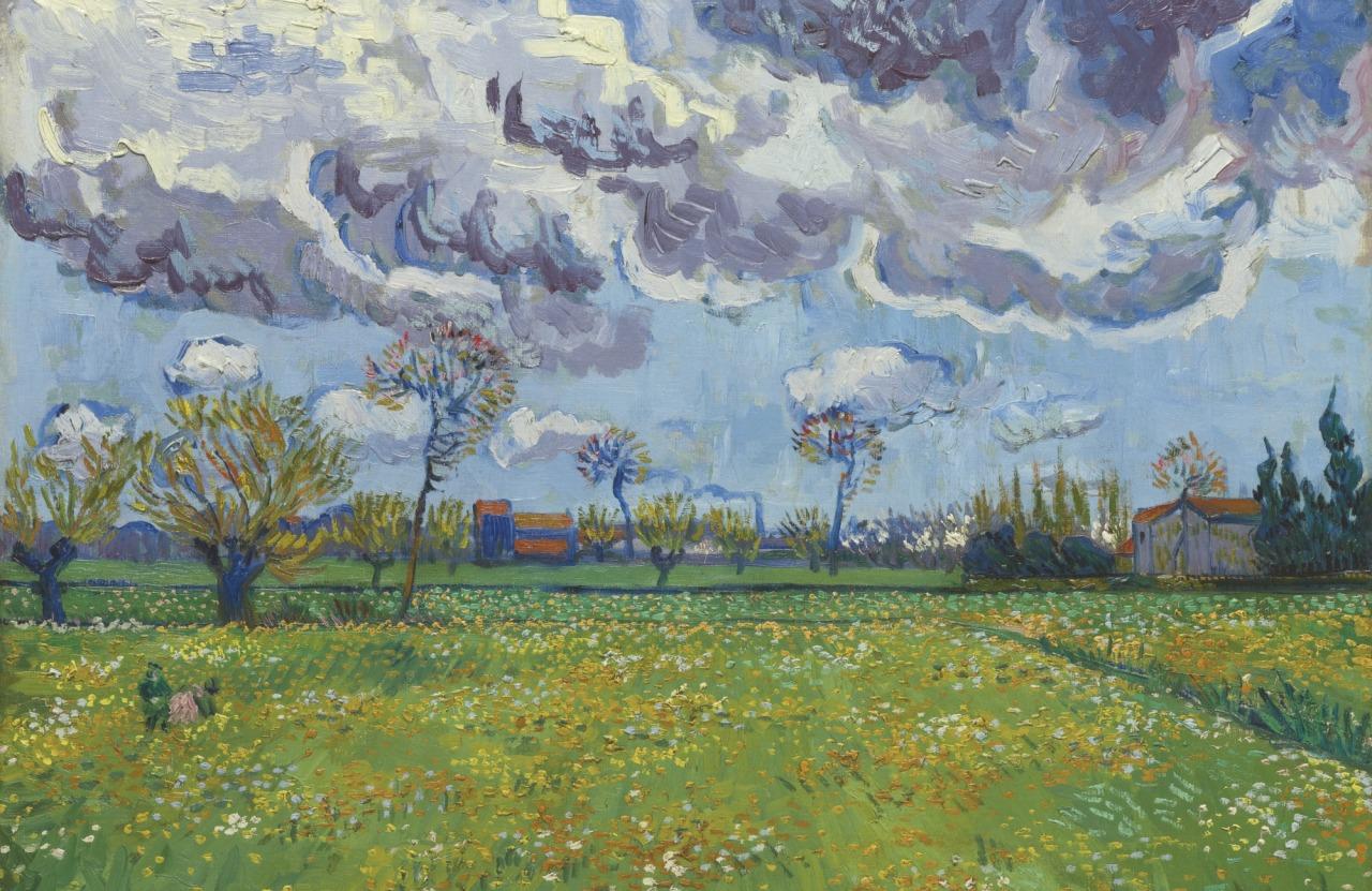 thunderstruck9:  Vincent van Gogh (Dutch, 1853-1890), Paysage sous un ciel mouvementé [Landscape under a turbulent sky], Arles, mid-April 1889. Oil on canvas, 60. 5 x 73.7 cm.