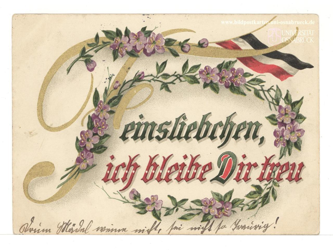 Feinsliebchen, ich bleibe Dir treu, Bildpostkarte Gruß von der Front, 19. Februar 1916, Universität Osnabrück, via Europeana 1914–1918