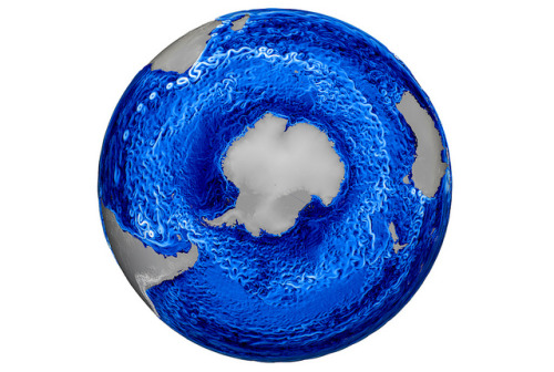 The Model For Prediction Across Scales-Ocean is used to investigate the effects of climate change. Colors show speed, where white is fast and blue is slow.
