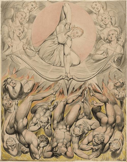 """O MITO DO INFERNO EM PLATÃOpor HANNAH ARENDT (1906-1975) [compartilhar no Facebook] Imagem: Pintura de 1808 de William Blake, """"The Casting of Rebel Angels Into Hell"""" (ilustrações para """"Paradise Lost"""" de Milton)Comprar o livro >>>http://migre.me/cRIjW""""Foi após a morte de Sócrates que Platão começou a descrer da persuasão como insuficiente para guiar os homens, e a buscar algo que se prestasse a compeli-los sem o uso de meios externos de violência.Bem no início de sua procura ele deve ter descoberto que a verdade, isto é, as verdades que chamamos de auto-evidentes, compelem a mente, e que essa coerção, embora não necessite de nenhuma violência para ser eficaz, é mais forte que a persuasão e a discussão. O problema a respeito da coerção pela razão, contudo, está em que somente a minoria se sujeita a ela, de modo que surge o problema de assegurar com que a maioria, o povo, que constitui em sua própria multiplicidade o organismo político, possa ser submetida à mesma verdade.Esse é o principal impasse da filosofia política de Platão e permaneceu o impasse de todas as tentativas de estabelecer uma tirania da razão. Em"""