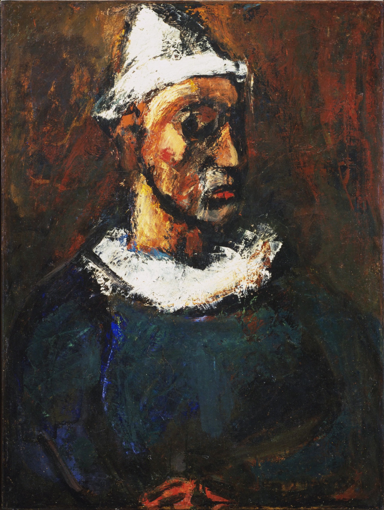 herzogtum-sachsen-weissenfels: Georges Rouault (French, 1871-1958), Clown, 1912. Oil on canvas, 89.8 x 68.2 cm.