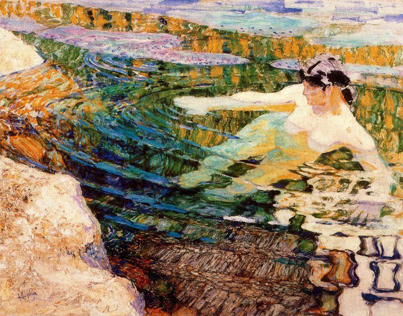 huariqueje:   Water. The Bather - Frantisek Kupka 1907Czech 1871-1957