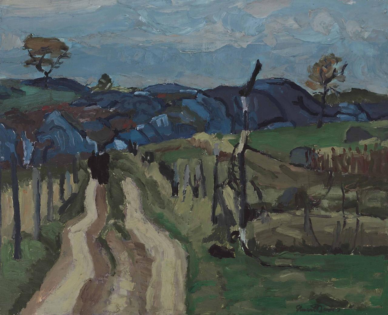 lawrenceleemagnuson:Stuart Davis (USA 1892-1964)Landscape Blue (1919)oil on canvas 48.3 x 58.4cm
