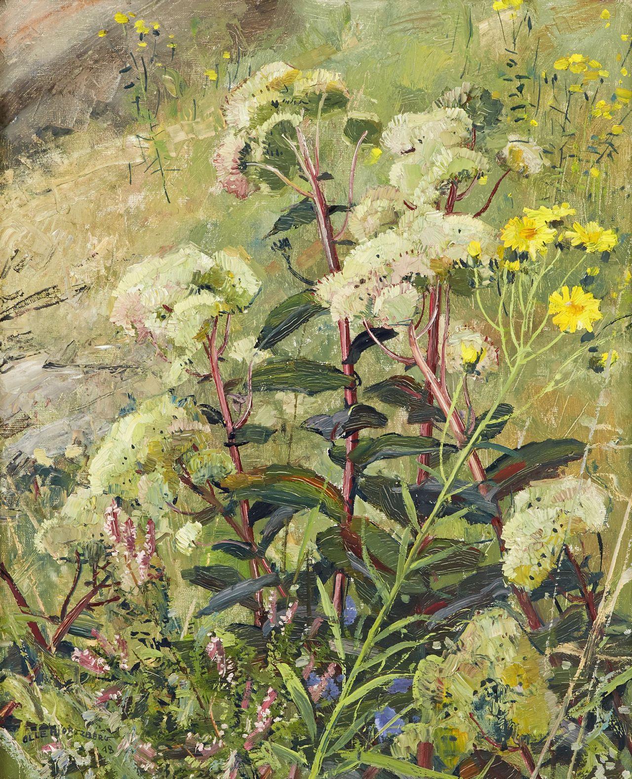 thunderstruck9:  Olle Hjortzberg (Swedish, 1872-1959), Ängsblommor vid midsommartid [Meadow flowers in midsummer], 1948. Oil on canvas, 61 x 50.5 cm.
