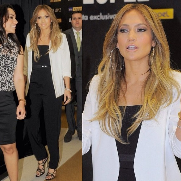 Jennifer Lopez  in white and black to promote her fashion collection at Coppel store Forum Buena Vista on Monday (March 23) in Mexico City, Mexico. | Photos: SplashNewsOnline #jenniferlopez #jlo