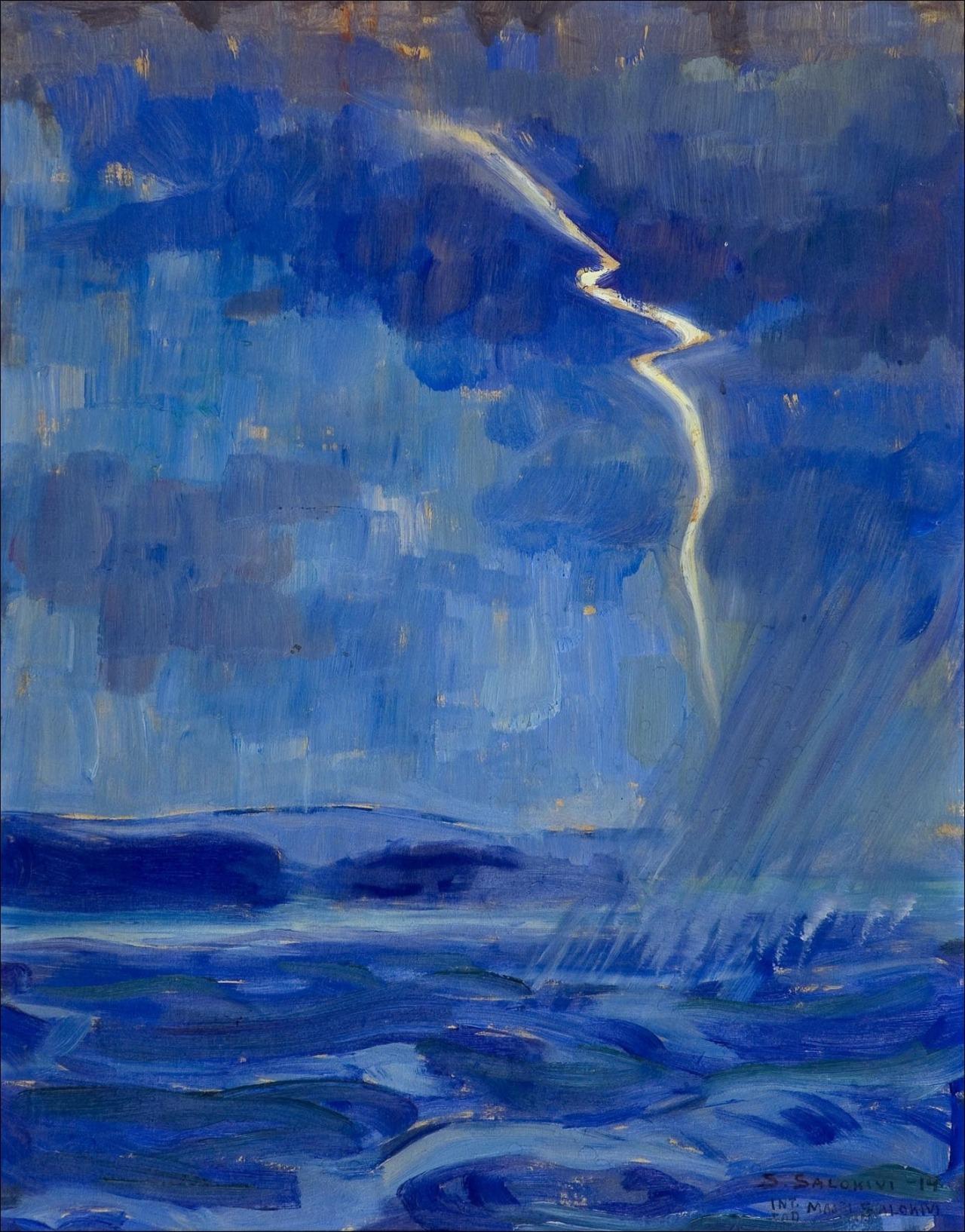 huariqueje: Storm at Sea  -  Santeri Salokivi 1914 Finnish 1886-1940 Oil on panel, 42 x 33 cm.