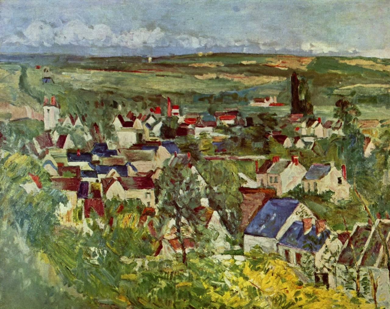 herzogtum-sachsen-weissenfels:Paul Cézanne (French, 1839-1906). View of Auvers, 1873. Oil on canvas,65 x 80cm.