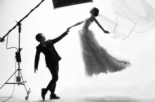 Magician Lu Chen (Liu Qian) with newlywed wife