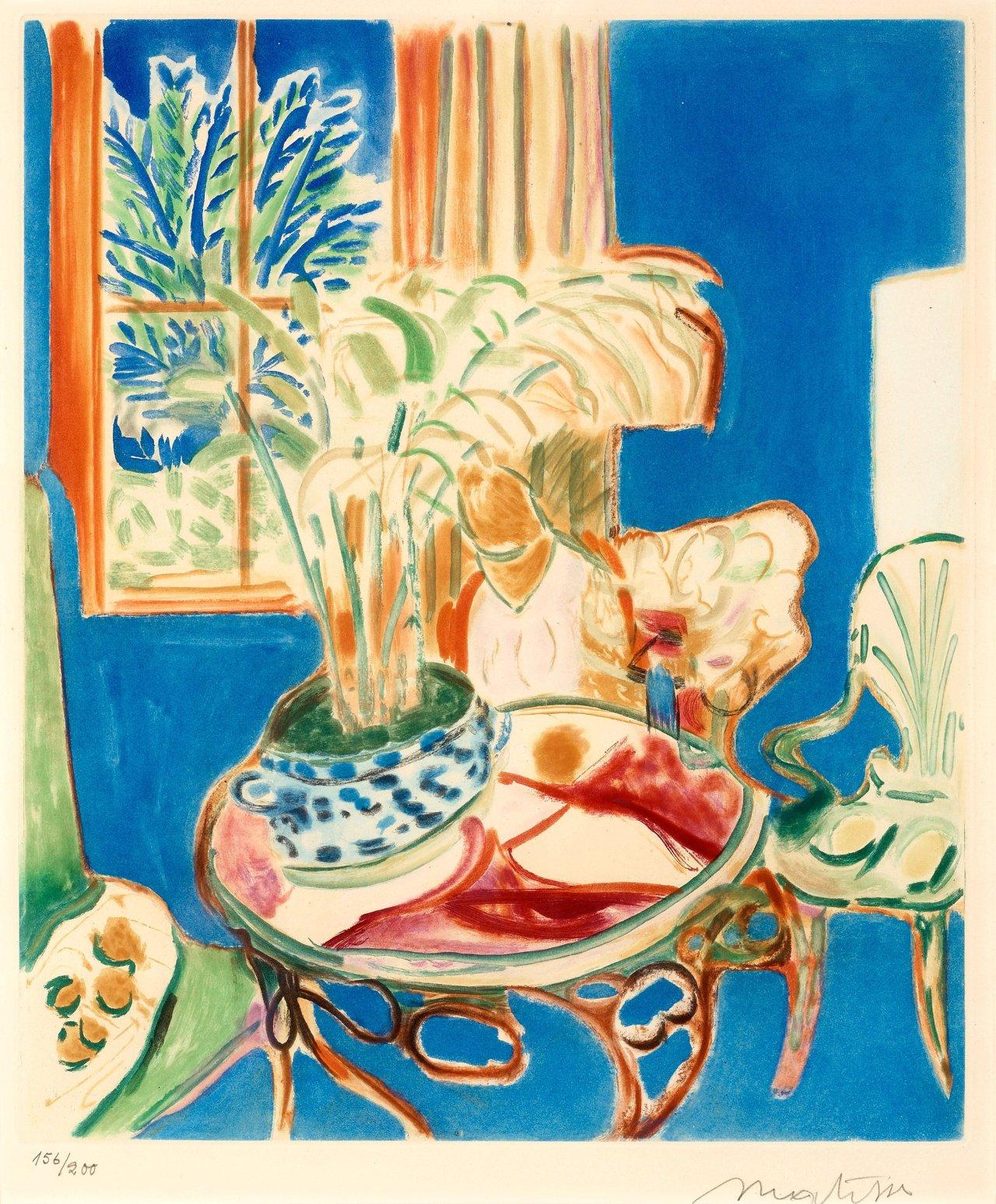 lawrenceleemagnuson:Henri Matisse Petit intérieur bleu (1952)aquatint in colours published by Maeght, Paris, 49,5 x 59,5cm