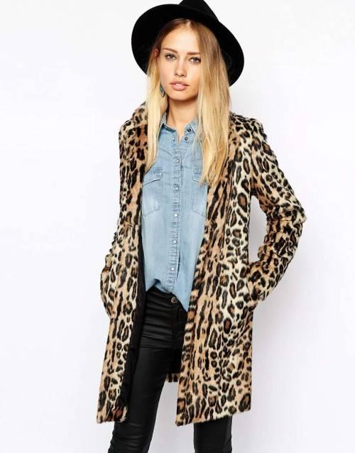 Pepe Jeans Leopard Faux Fur Coat