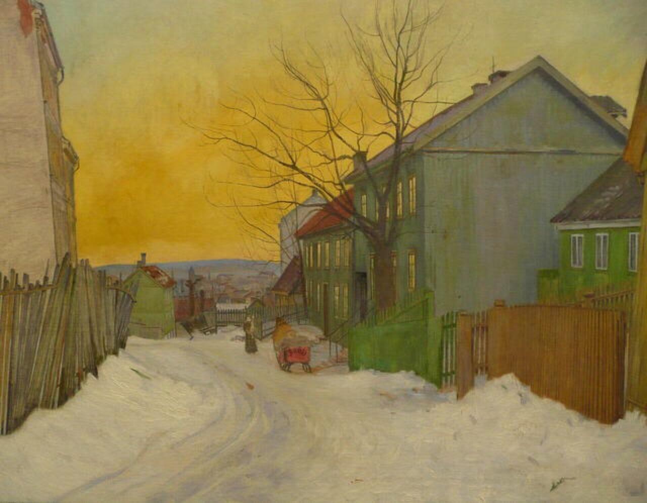 art-is-art-is-art:  A Street in Oslo, Harald Sohlberg