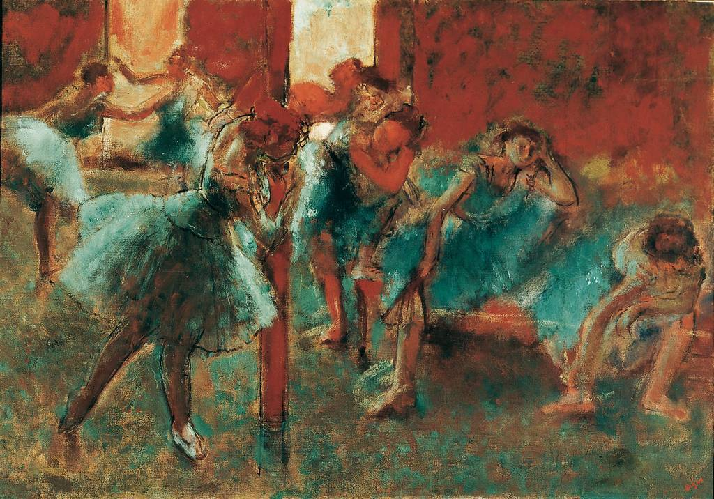 amare-habeo:  Edgar Degas (French, 1834-1917)  Dancers at Rehearsal, 1895/96  OIl on canvas, 70,5 x 100.5 cm