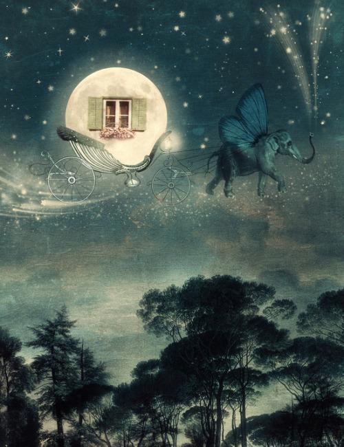Illustration Art Girl Design Dream Moon Galaxy Stars