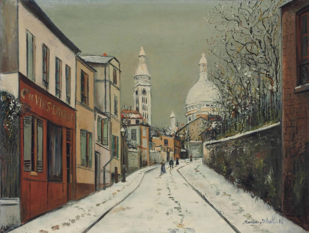 peira: Maurice Utrillo: Rue de l'Abreuvoir sous la neige (c.1917)