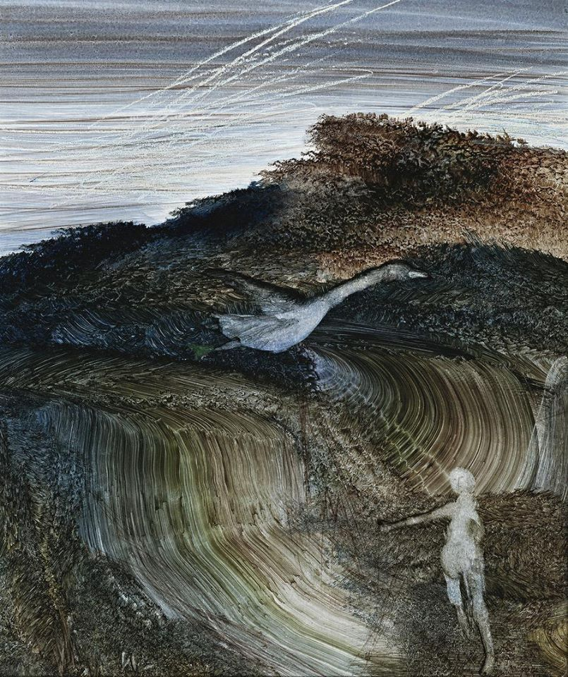 themirame:  SIDNEY NOLAN (1917 – 1992), Australia.  Boy and the bird. wax crayon, oil and fabric dye on paper Corporate Collection, Perth