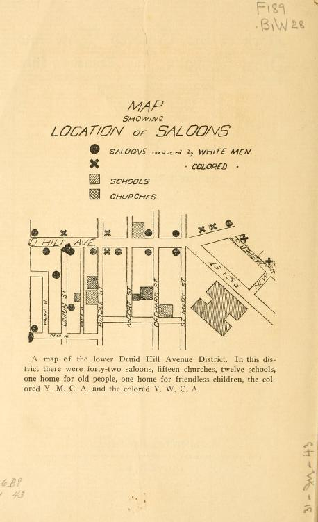 Map Of Saloons Lower Druid Hill Avenue District Made By The Colored Law And Order League Baltimore Md 1908
