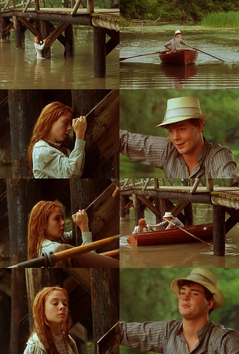 doomedtowander:  Probably the best scene from Anne of Green Gables, with Anne's recitation of 'The Lady of Shalott' being a close second. I'm also extremely jealous of Gilbert's ability to rock out the hat. :) Gilbert: Anne Shirley. What in heck are you doing here? Anne: Fishing for lake trout.