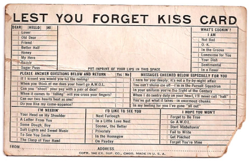 lest you forget kiss card: old world romance