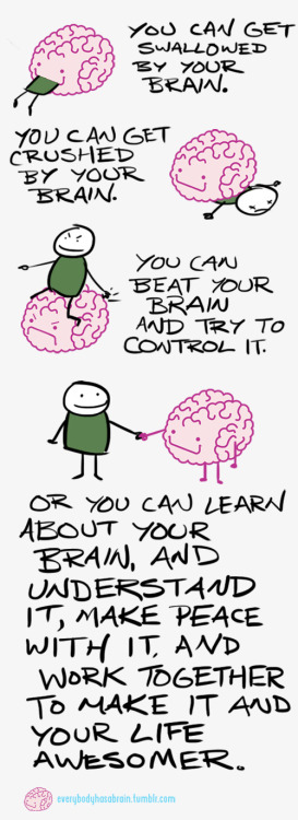 Brains change. The environment you're exposed to and the actions you take each day affect your brain. What happens today, and this week, and this month, is going to affect the health of your brain, your actions, and your decisions tomorrow, and next week , and next month, and next year. When we struggle with a mental illness, we often want to change what's going on in our brain right now. But that's not possible. The only thing to do is to accept what your brain is throwing at you and learn from it. But what is possible, is taking actions today that are going to make your brain better able to make healthy decisions in the future. There's lots of great research and therapies out there that focus on how neuroplasticity—the brain's ability to change—plays an important role in overcoming anxiety disorders and a range of other illnesses. Go and read about it. If you're alphabetically challenged, watch videos on neuroscience. You can't control where your brain is at right now. But you're in charge of deciding where it goes from here. So learn about it, and help to plan your brain's journey to a healthier place. - Mark