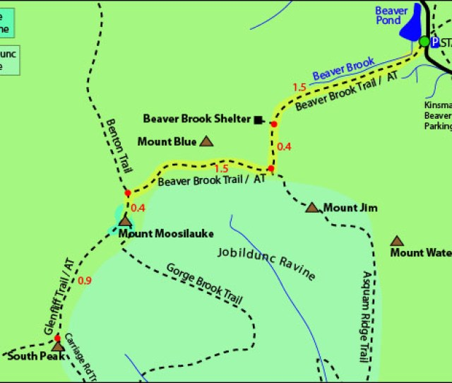 Mount Moosilauke Map Beaver Brook Trail Appalachian Trail Beaver Brook Cascades Jobildunc