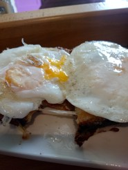 Croque-madame. So cheesy and greasy.