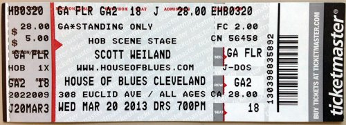 Scott Weiland House Of Blues Cleveland Ticket