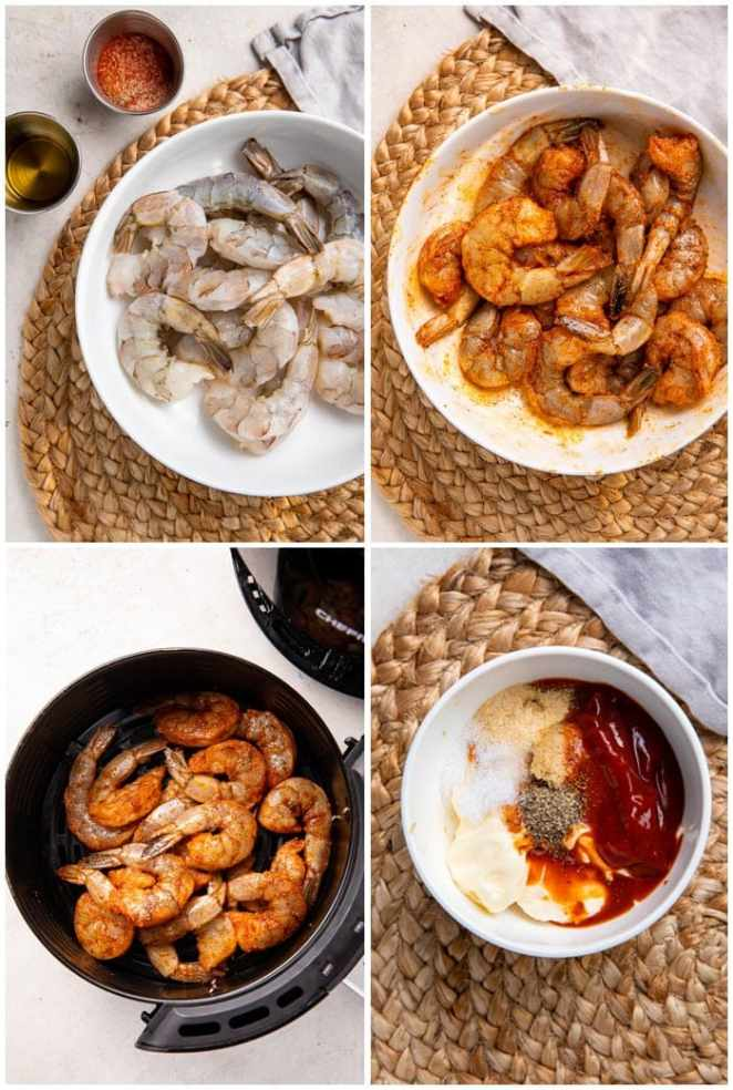 Instructions for air fryer shrimp with comeback sauce
